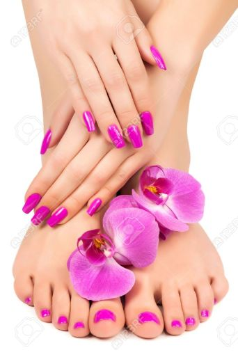 18875326-pink-manicure-and-pedicure-with-a-orchid-flower-Stock-Photo-nails